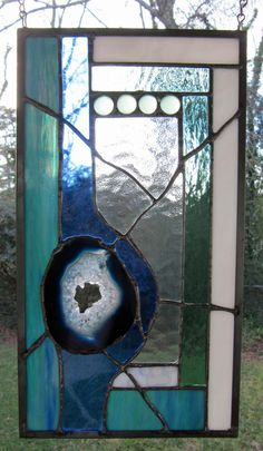 """Blue Hawaii - Blue Agate w/Blue and Seafoam Green Glass:  Stained Glass Panel with Agate (approx 8"""" wide x 14.5"""" tall) by ArtGlassInspired on Etsy https://www.etsy.com/listing/262820007/blue-hawaii-blue-agate-wblue-and-seafoam"""