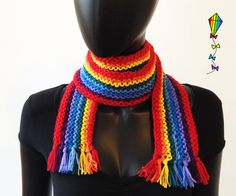 Rainbow Scarf  Adult Classic Scarf Colourful Knitted by StripyKite