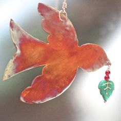 Christmas Peace Bird Copper Ornament Rustic by RoughMagicHolidays, $14.00