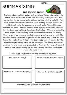 by Pink Tulip Teaching Creations 4th Grade Reading Worksheets, 2nd Grade Reading Comprehension, 3rd Grade Reading, Writing Worksheets, Reading Passages, Reading Strategies, Printable Worksheets, Summarizing Activities, Summary Writing