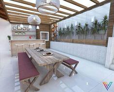Casa com varanda gourmet com mesa e bancos de madeira Projeto de Fernanda Pereira