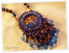 Handmade: Vintage style glass button, Czech glass beads, Swarovski crystal, Japanese seed beads.