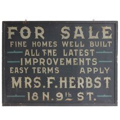 1stdibs | 1900's Hand Painted Real Estate Tin Sign