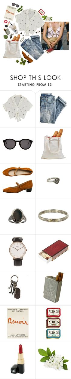 """""""Grocery shopping"""" by faelike ❤ liked on Polyvore featuring J.Crew, Thierry Lasry, American Apparel, Pyrrha, Vintage, Daniel Wellington, OKA, AllSaints and Chanel"""