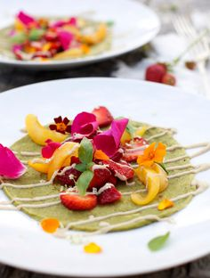 Miraculous Summer Crêpes  Ingredients: 1 1/2 cup buckwheat flour 1 cup brown rice flour 1 1/2 cup water 2 cups fresh spinach 1 handful fresh basil leaves 2 tbsp virgin olive oil 1/2 tsp Himalayan salt / Celtic sea salt or other mineral rich, good quality salt 1 tsp apple cider vinegar 1 tbsp coconut oil, for frying