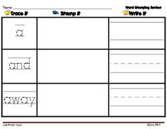 WORD WORK STAMPING & WRITING REVIEW ... PRE-PRIMER WORDS L