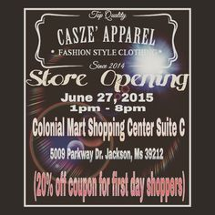 My Clothing Store will be opening soon in The Jackson, MS area . Clothing for men and women will be available . Handmade and custom designed clothing will be in the store . Custom orders are accepted and can be designed/ sketched in store and alteration services for any clothing items will be available .