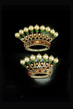 Vintage Crown Trifari Brooch set Alfred Philippe Sterling Signed estate rhinestone jewelry