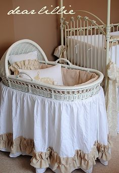 Thomas family tradition to use this bassinet....making a skirt and bumpers like this!!  I love pinterest!!!! :)