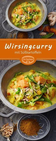 Wirsingcurry mit Süßkartoffeln: Schnelles Curry vegan mit Süßkartoffeln, Wirsing und Zuckerschoten - vegan, vegetarisch, lactosefrei