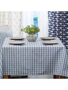Blue & White Small Plaid Table Cloth Mediterranean Style