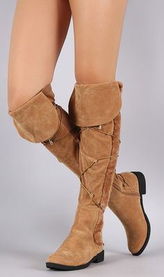 SADIE CAMEL STRETCH FOLD OVER FUR STRIP WRAP AROUND FLAT OTK OVER THE KNEE BOOT ONLY $24.88