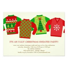 Ugly Christmas Sweaters Holiday Party Invitation