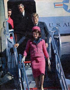 The Kennedys deplane in Dallas, TEXAS, November 22, 1963.
