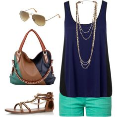love the navy and teal combo; hate the purse, though
