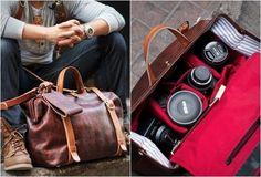Elegante e perfetta per chi ama la fotografia. http://www.getbisy.com/product/Roamographer-Leather-Camera-Bag/1629