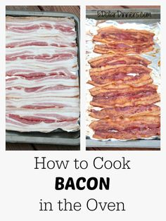 Cooking bacon can be messy - the smell, the oil, the splatter, and the fact that it can be super time-consuming to make more than a couple pieces. We're here to help you keep it clean & SIMPLE! Try cooking bacon in your oven today. Baked Bacon Recipe, Oven Baked Bacon, Bacon In The Oven, Bacon Recipes, Brunch Recipes, Bacon Bacon, Bacon Funny, Candied Bacon, Bacon Salad