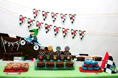 @Shelly Figueroa Figueroa Wyramon Here is a mud/motorcycle theme. You could make mud cookies and a mud cake. Print out some little motorcycle clipart that you can google and save to your computer and put it on toothpicks to stick into the food and on the banner etc.