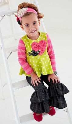 Peaches n Cream Pink Lime BIRD Ruffle Pant Headband set Girls 4-6x - Color Me Happy Boutique