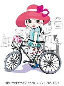 Vector de stock (libre de regalías) sobre linda chica435920239 Girl With Hat, En Stock, Cute Little Girls, Baby Strollers, Vector Free, Disney Characters, Fictional Characters, Bicycle, Disney Princess