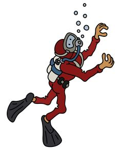 Funny diver in a red neoprene Royalty Free Vector Image , Train Vector, Car Vector, Grey Dog, Brown Dog, Free Vector Images, Vector Free, Shoes Vector, Old Police Cars, Airplane Vector