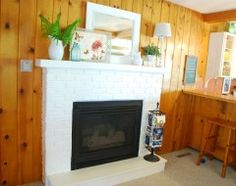 More Good Knotty Pine White Fire Place And White Moldings