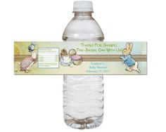 Peter Rabbit Baby Shower Water Bottle Wrappers by Sassygfx on Etsy, $10.00