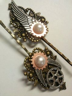 Steampunk hair pins by WildlyBeadingHearts on Etsy, $13.00