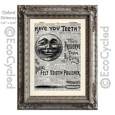 New to EcoCycled on Etsy: Antique Dental Advertisement Have You Teeth on Vintage Upcycled Dictionary Art Print Book Art Print Teeth (10.00 USD)