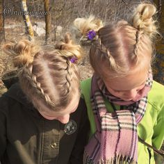 "113 tykkäystä, 4 kommenttia - Heli (@braidingbad) Instagramissa: ""Identical #hairstyles for these #cousins 😌❤🌸 #dutchbraid s into #spacebuns. . . #braidinghair…"""