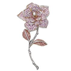 Sapphire Diamond Gold Rose Brooch  | From a unique collection of vintage brooches at https://www.1stdibs.com/jewelry/brooches/brooches/