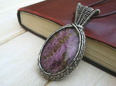 Stichtite Pendant - Wire Wrapped Jewellery Handmade - Gemstone Jewellery -  Wire Wrapped Necklace - Purple Necklace