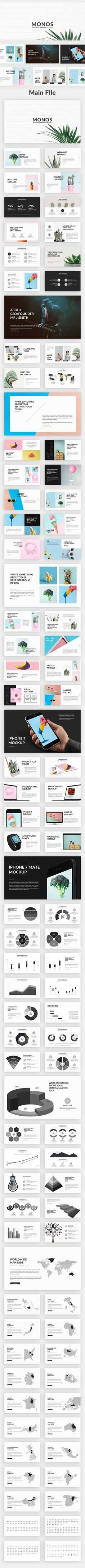Infographics , UI Design et Web Design - Monos - Minimal Powerpoint Template - Presentation Templa. Web Design, Slide Design, Book Design, Layout Design, Keynote Presentation, Presentation Deck, Presentation Templates, Portfolio Presentation, Power Point Template