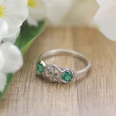 Replica Art Deco Three stone Ring with vintage old european cut diamond and emeralds