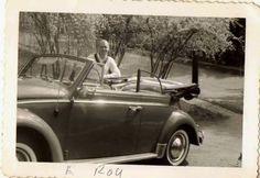 Old Vintage Antique Photograph Man With Cool Antique Convertible Car Automobile