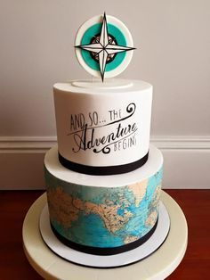 Wedding And the adventure begins cake