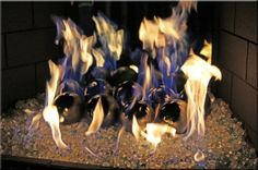 "4"" Black on Silver fire balls on glass - gas fireplace"