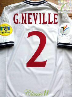 Relive Gary Neville's Euro 2000 with this vintage Umbro England home football shirt.