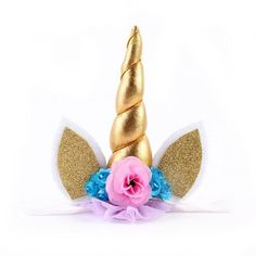 Baby / Newborn Unicorn Headband with Gold Horn, Lace and Flowers with Ears