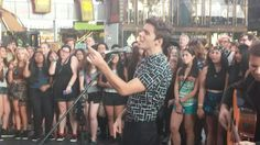 Nathan Sykes shooting his new acoustic video for Kiss Me Quick in Times Square