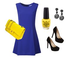 """Blue and yellow simple set"" by mary-swan-1 on Polyvore"