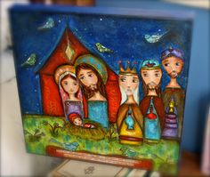 Nativity with Birds Original Painting on Canvas by FlorLarios