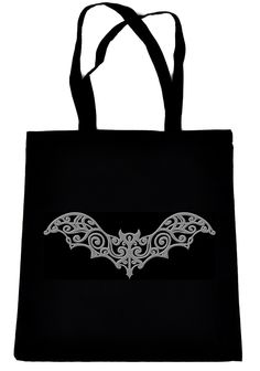 Gothic Vampire Bat on Black Tote Book Bag Elegant Halloween Handbag