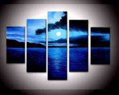 Dark Blue Ocean Wall Decor Landscape Oil Painting on Canvas 5pcs/set - from $48.00