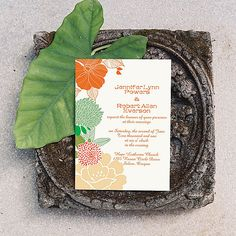 Romantic Peach and Mint Flower Summer Wedding Invitations as low as $0.94