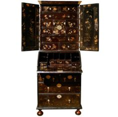 Small Early 18th Century Lacquer Bureau Bookcase, circa 1720