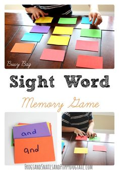 Sight Word Memory Game. Could use this to practice sight words, word families, alphabet letters... even math facts!
