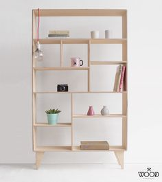 VENT / our handmade, customized plywood bookcase / designed by Wood Republic / #wood #wooden #bookcase #bookshelf #bookshelves #interior #ideas #design #furniture #plywood #handmade #hand #made #crafted #modern #stylized #scandi #scandinavian #polish #asymmetry #asymmetrical #boxes #books #hygge #cabinet #natural