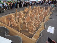 Lego Street Art inspired by Terracotta Army of Qin Shi Huang. Amazing street painting created by Leon Keer, Ruben Poncia, Remko van Schaik, and Peter Westerink during the Sarasota chalk festival in Florida. 3d Street Art, 3d Street Painting, Street Art Utopia, Amazing Street Art, Street Art Graffiti, Street Artists, Street Mural, Graffiti Murals, Illusion Kunst