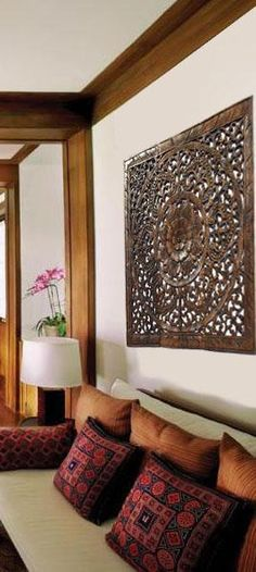 Oriental Carved Floral Wall Decor. Unique Asian Wood Wall Art. Large ...